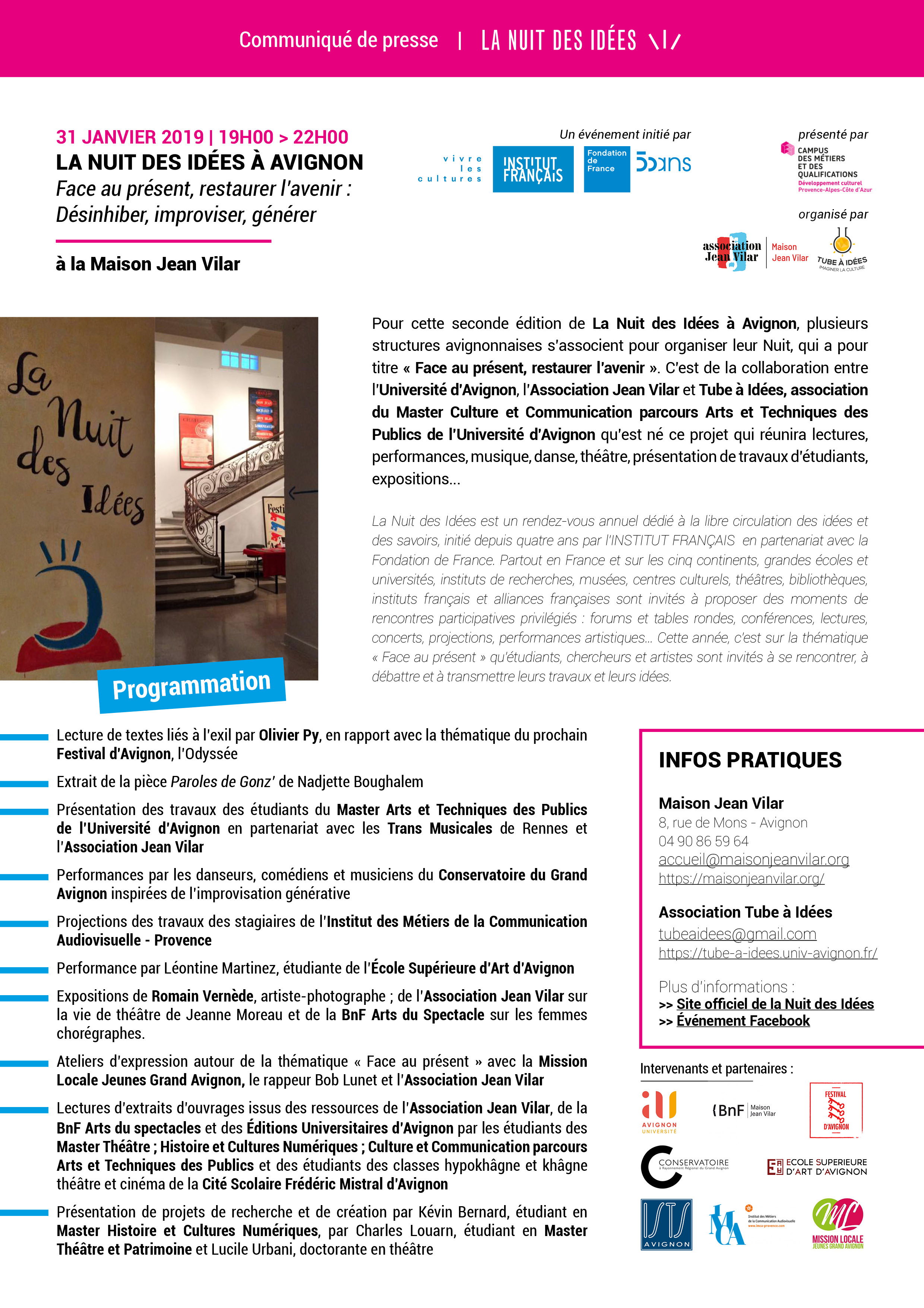 La Nuit des Idées à Avignon - 31 janvier 2019 - à la Maison Jean Vilar