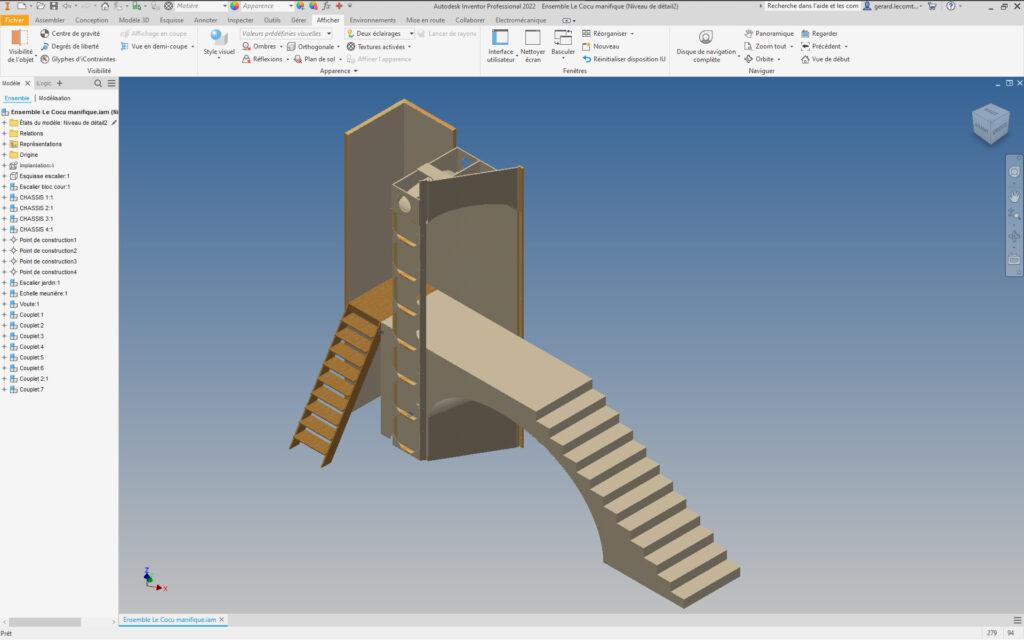 Visuel n°1 : Création en trois dimensions du décor réalisée sur Inventor®